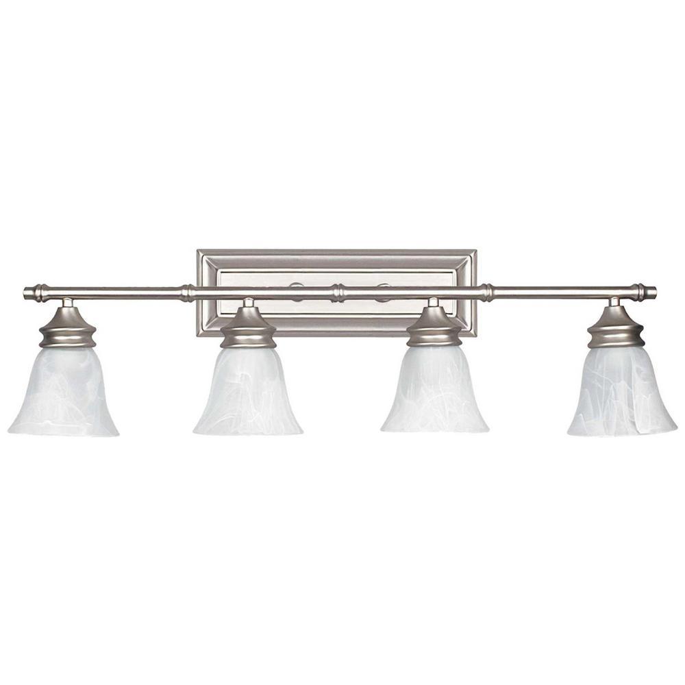 Radionic Hi Tech Inspire 6 Light Satin Nickel Bath Light L Va 2268 The Home Depot