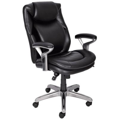 Wellness by Design Black Bonded Leather Mid Back Office Chair