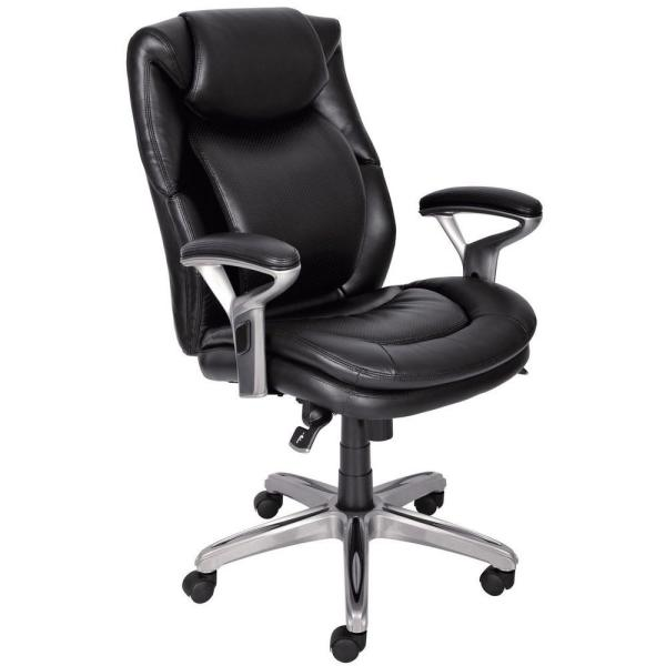 Serta Wellness by Design Black Bonded Leather Mid Back Office Chair
