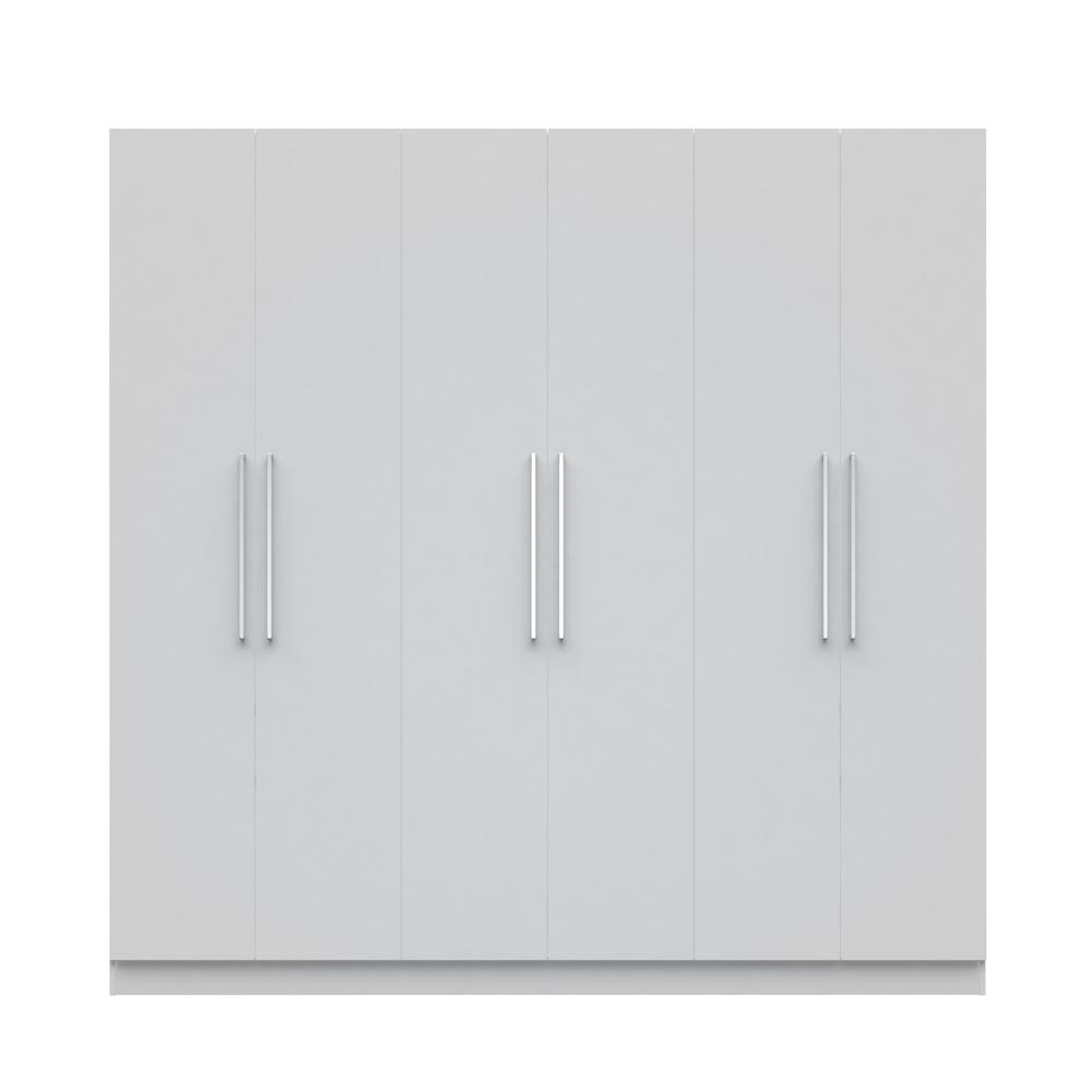 Eldridge 2.0 - 91 in. White 3-Sectional Wardrobe with 4-Drawers and