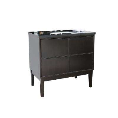 Scandi IV 37 in. W x 22 in. D Bath Vanity in Cappuccino with Granite Vanity Top in Black with White Rectangle Basin