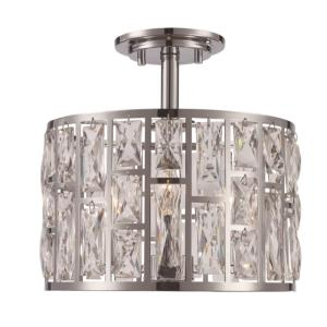 Vibrant 12 in. 3-Light Polished Chrome Semi-Flush Mount with Crystal Shade