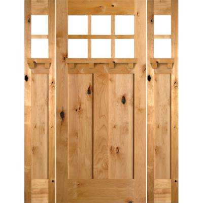 64 in. x 80 in. Craftsman Knotty Alder 3 Panel 6-Lite DS Unfinished Left-Hand Inswing Prehung Front Door with Sidelites