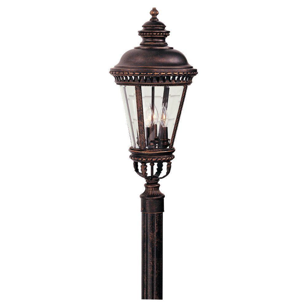 Castle 4-Light Grecian Bronze Outdoor Post Light