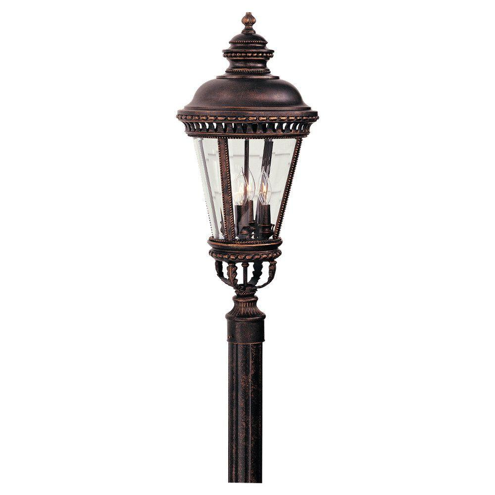 Outdoor Post Lights At Home Depot: Feiss Castle 4-Light Grecian Bronze Outdoor Post Light