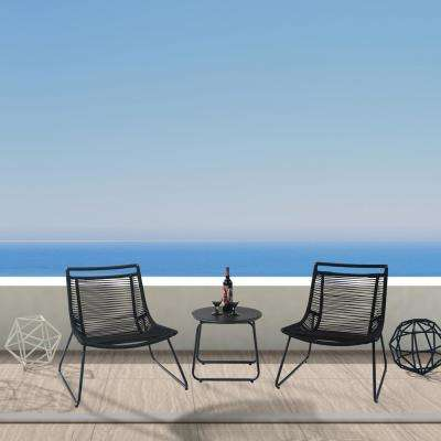 Archibald Rope 3 Piece Black Steel Outdoor Bistro Set without Cushions