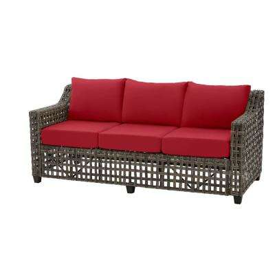 Briar Ridge Brown Wicker Outdoor Patio Sofa with CushionGuard Chili Red Cushions