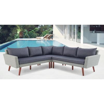 Albany Light Gray All-Weather Wicker Outdoor Corner Sectional Sofa with Dark Gray Cushions