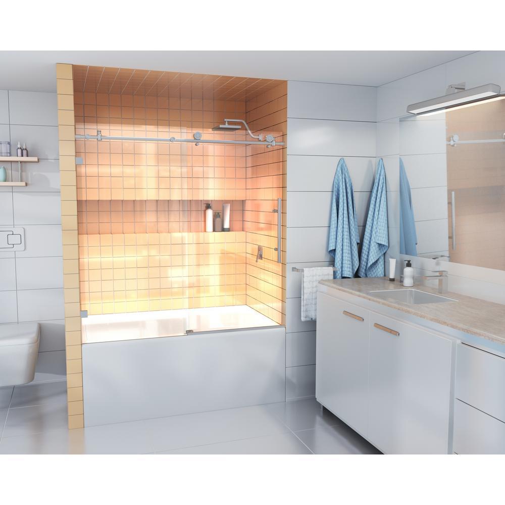 64 in. - 68 in. x 78 in. Frameless Sliding Shower Door Brushed Nickel with Handle
