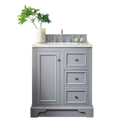 De Soto 30 in. W Single Vanity in Silver Gray with Marble Vanity Top in Carrara White with White Basin