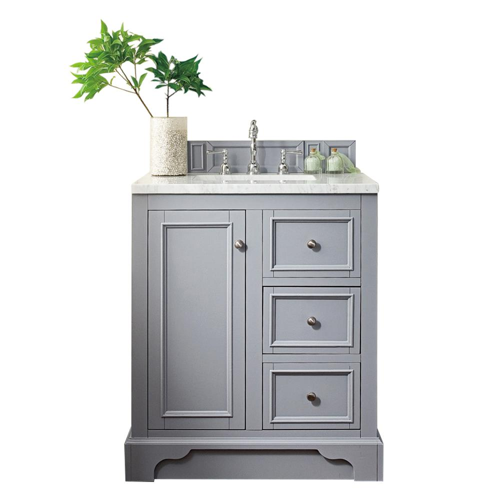 James Martin Vanities De Soto 30 in. W Single Vanity in Silver Gray with Marble Vanity Top in Carrara White with White Basin