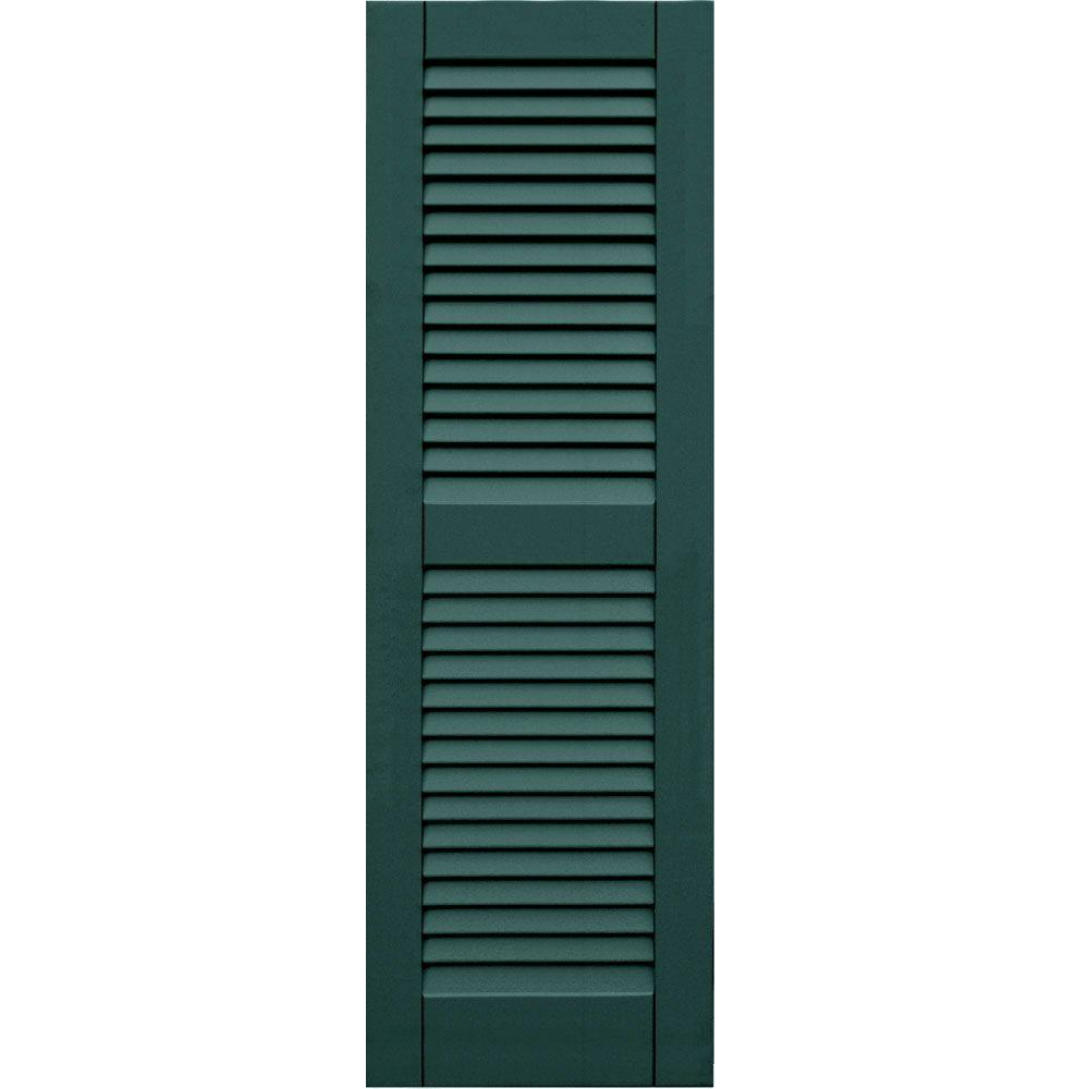 Winworks Wood Composite 15 in. x 47 in. Louvered Shutters Pair #633 Forest Green