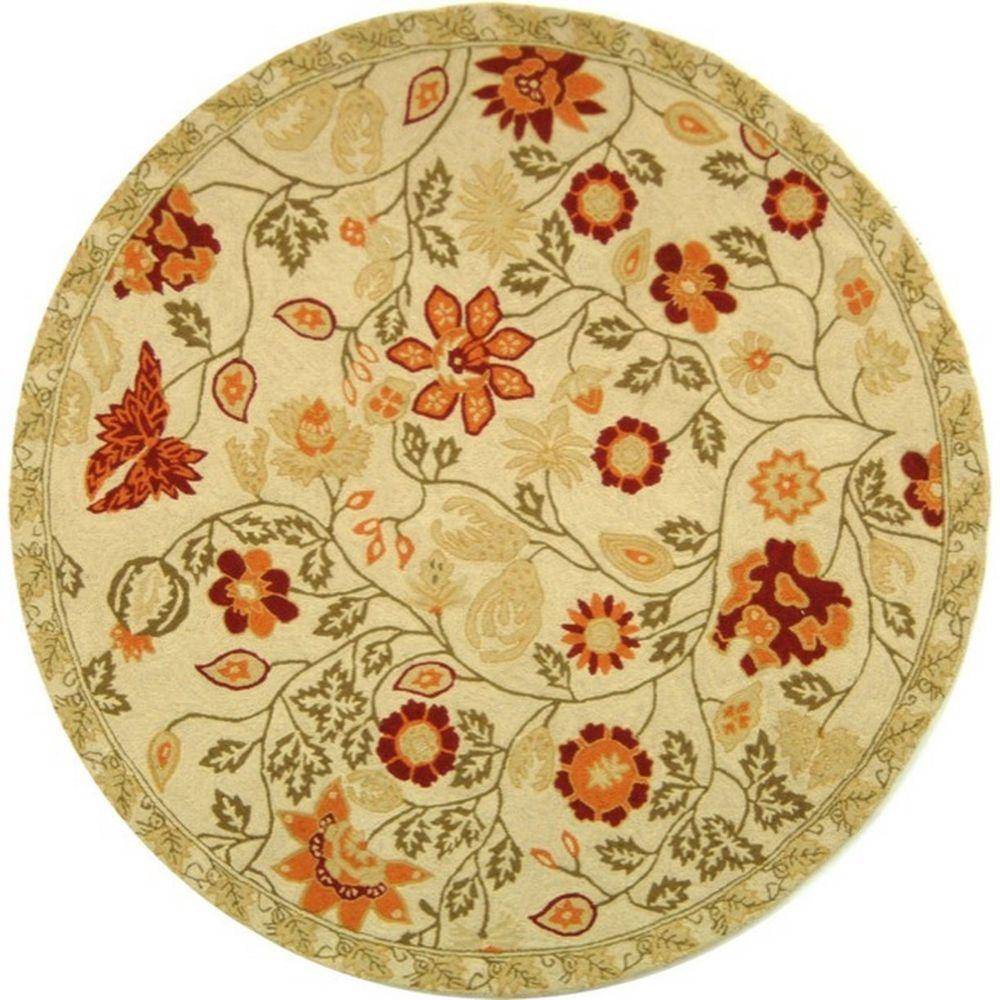 Safavieh Chelsea Ivory/Green 5 ft. 6 in. x 5 ft. 6 in. Round Area Rug
