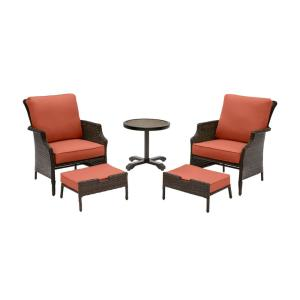 Grayson 5-Piece Brown Wicker Outdoor Patio Small Space Chat Seating Set with CushionGuard Quarry Red Cushions