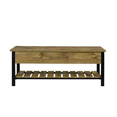 Barnwood Open Top Storage Bench With Shoe Shelf