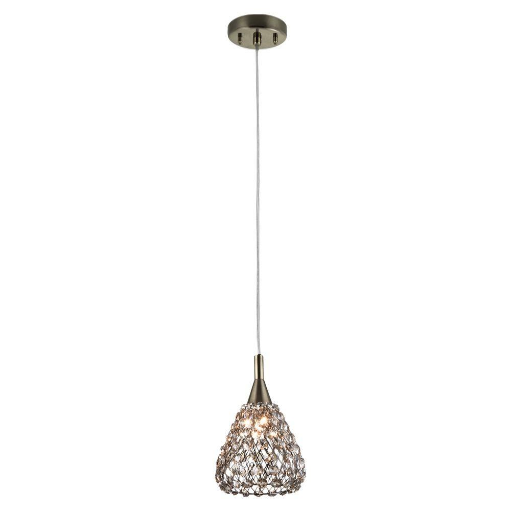 Home Decorators Collection 1 Light Antique Bronze Mini Pendant With Cognac Crystal Shade