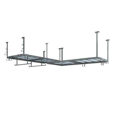 VersaRac 48 in. W x 18 in. H x 192 in. D Ceiling Mounted Steel Set 2 Overhead Rack and 20 Piece Accessory Kit in Gray