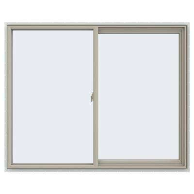 59.5 in. x 47.5 in. V-2500 Series Desert Sand Vinyl Right-Handed Sliding Window with Fiberglass Mesh Screen