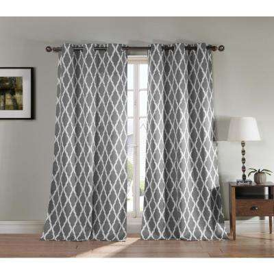 Geometric Chocolate Polyester Blackout Grommet Window Curtain 38 in. W x 84 in. L (2-Pack)