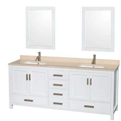 Sheffield 80 in. Double Vanity in White with Marble Vanity Top in Ivory and 24 in. Mirrors