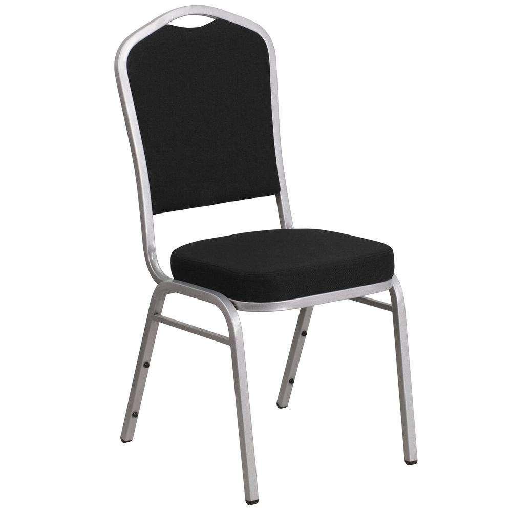 Flash Furniture Black Fabric/Silver Frame Stack Chair CGA-FD-183656-BL-HD