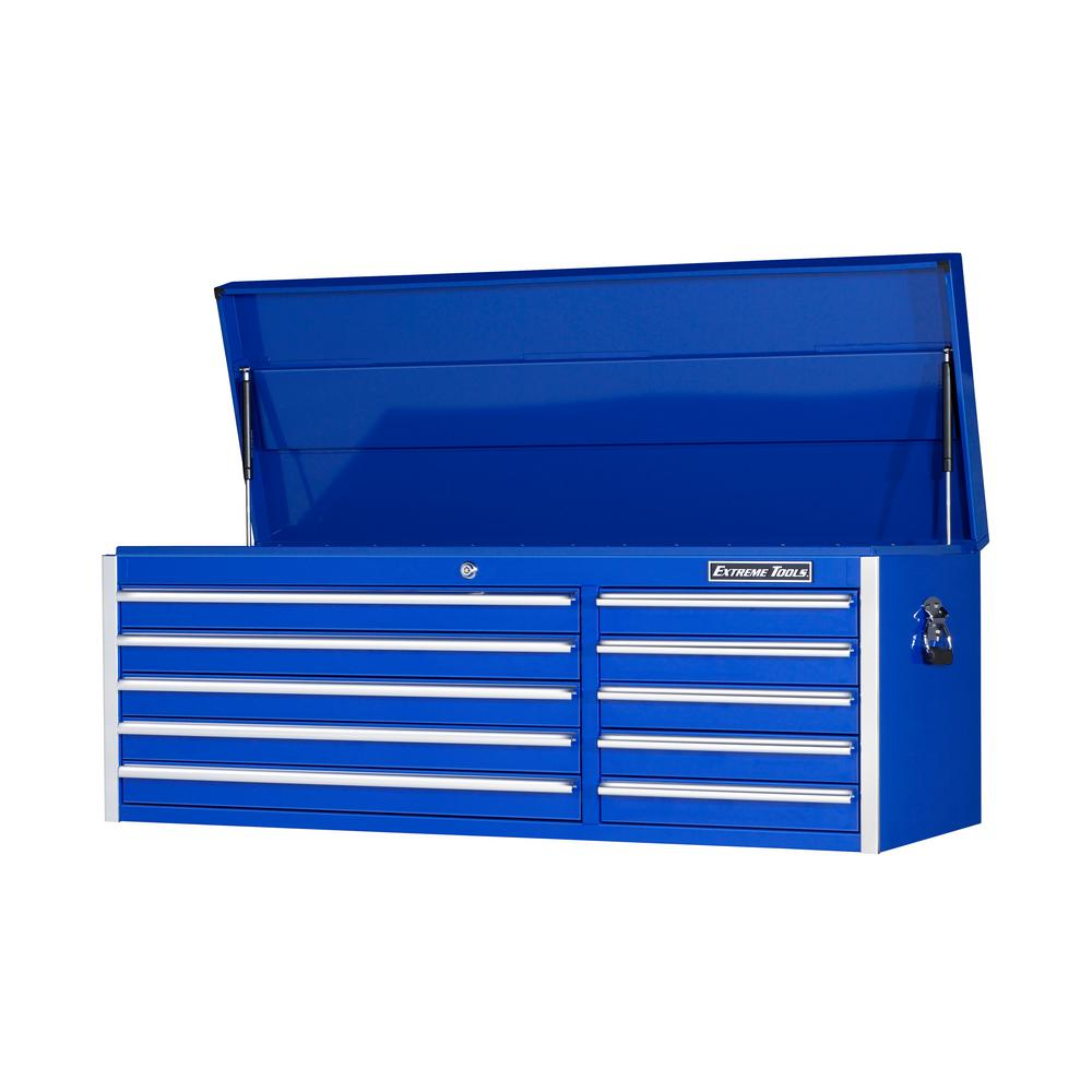 EX Standard Series 56 in. 10-Drawer Top Chest, Blue