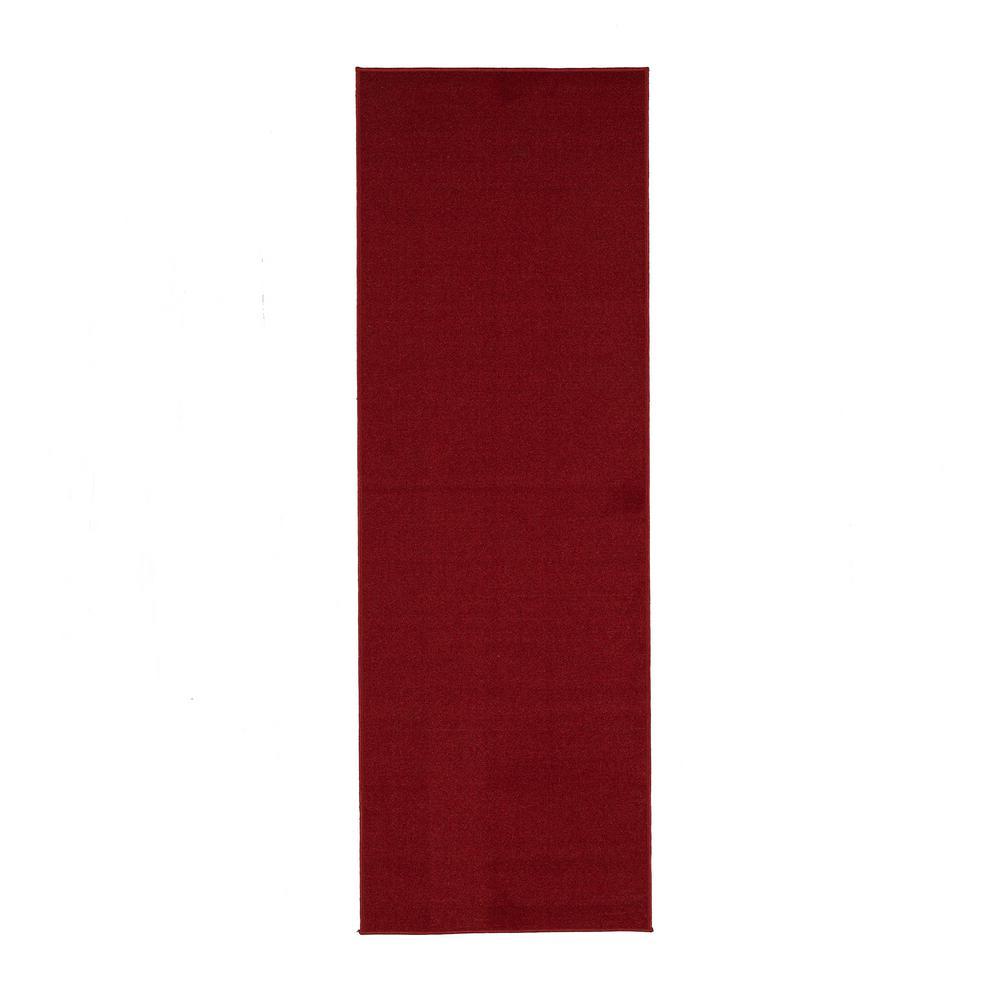 d58688c017c Ottomanson Ottohome Collection Carpet Aisle Design Red 2 ft. x 12 ft. Runner  Rug