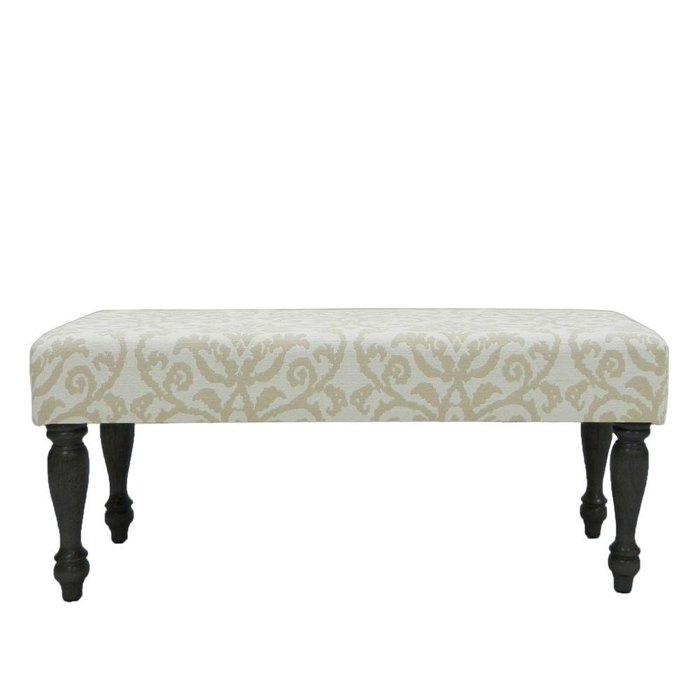 Carolina Cottage Lascada Sand Romance Wood Bench Upholstered with Antique Black Turned Legs-DISCONTINUED