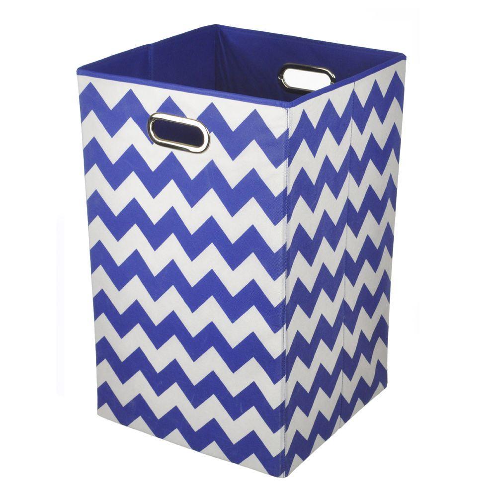 Bold Blue Chevron Folding Laundry Basket