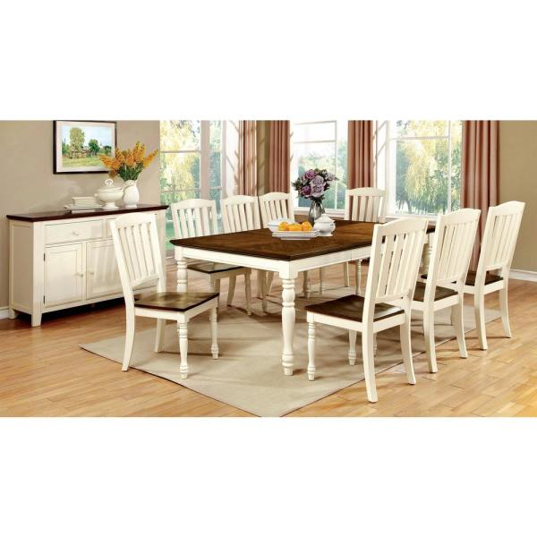 William S Home Furnishing Harrisburg Vintage White And Dark Oak Transitional Style Dining Table