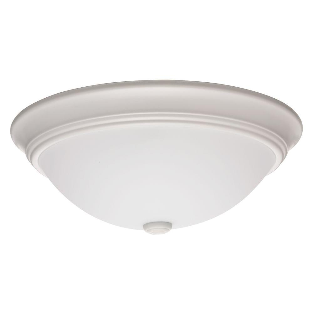 Essentials 14 in white led decor round flush mount with shade