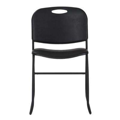 Black Resin Seat Stackable Folding Chair (Set of 4)