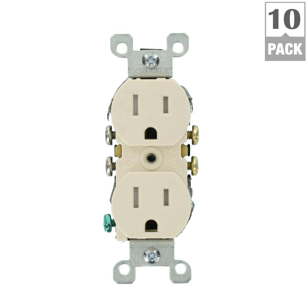 15 Amp Tamper-Resistant Duplex Outlet, Light Almond (10-Pack)