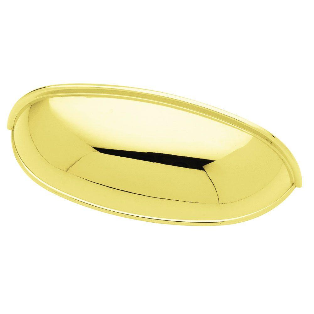 Liberty 2-1/2 in. or 3 in. (64mm or 76mm) Polished Brass Dual Mount Cup Pull