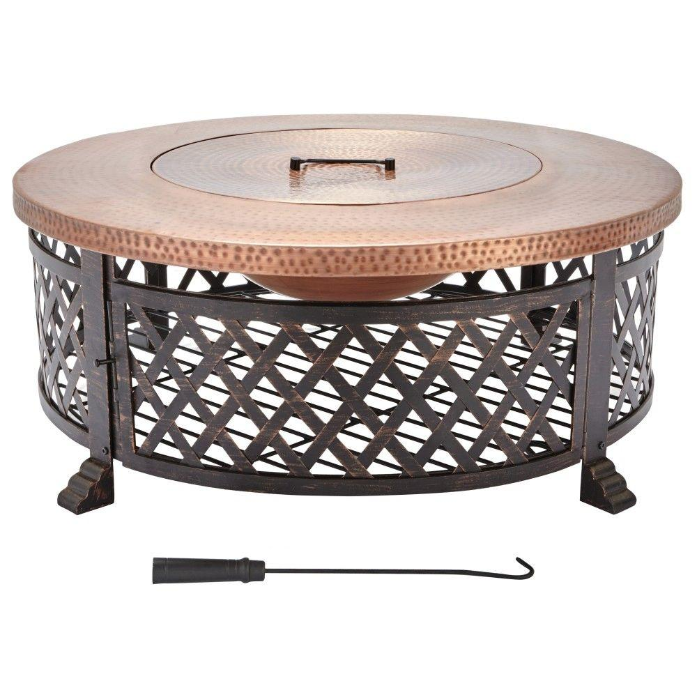 fire pit coffee table Home Decorators Collection 40 in. Lattice Fire Pit Table in Copper  fire pit coffee table