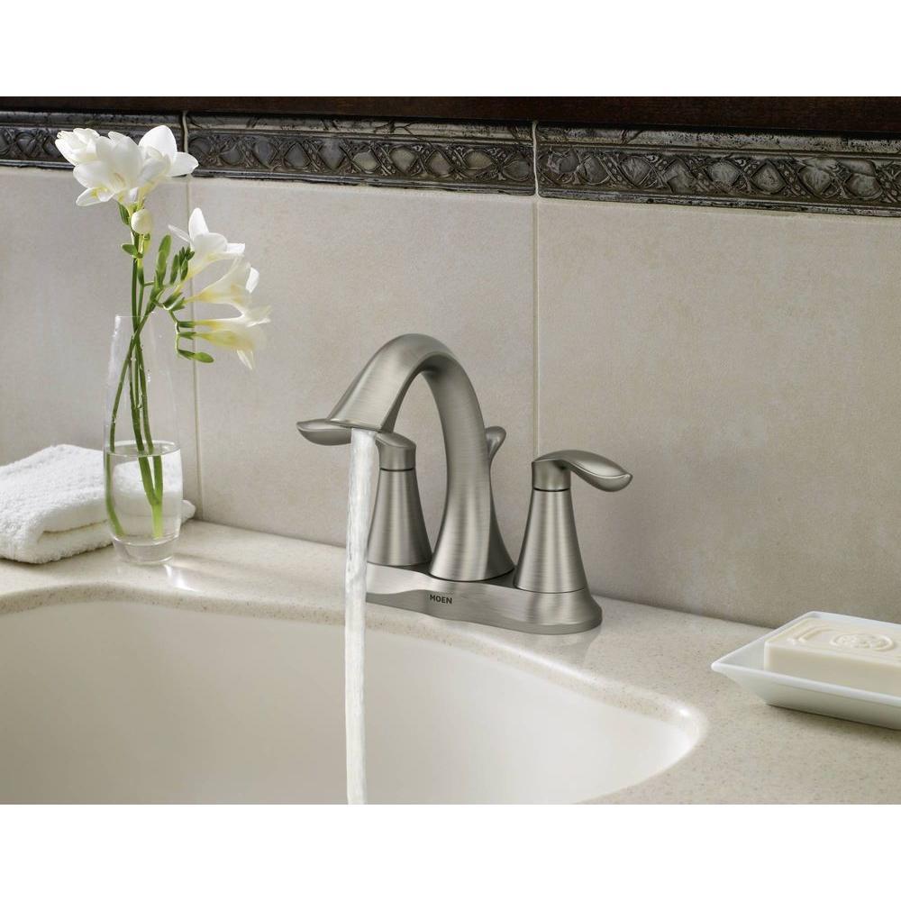 Eva 4 in. Centerset 2-Handle High-Arc Bathroom Faucet in Brushed Nickel (2-Pack)