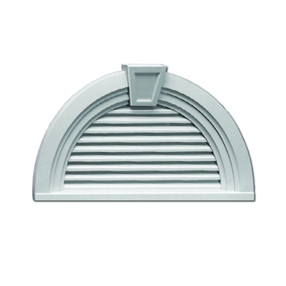 Fypon 41-5/8 in. x 29 in. x 3-13/16 in. Polyurethane Functional Half Round Louver Gable Vent with Decorative Trim and Keystone
