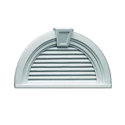 36 in. x 18-9/16 in. x 3 in. Polyurethane Decorative Half-Round Louver with Deco Trim and Keystone