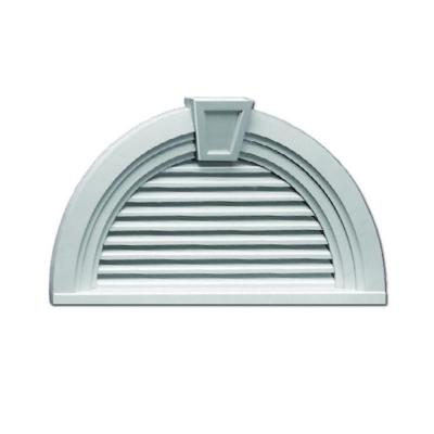 36 in. x 18.5625 in. Half Round White Polyurethane Weather Resistant Gable Louver Vent