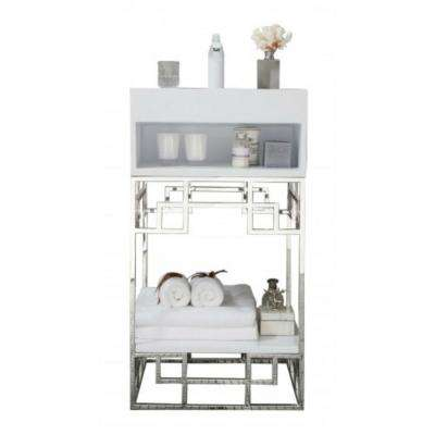 Beverly 19 in. W Single Vanity in Polished Chrome with Solid Surface Vanity Top in White with White Basin