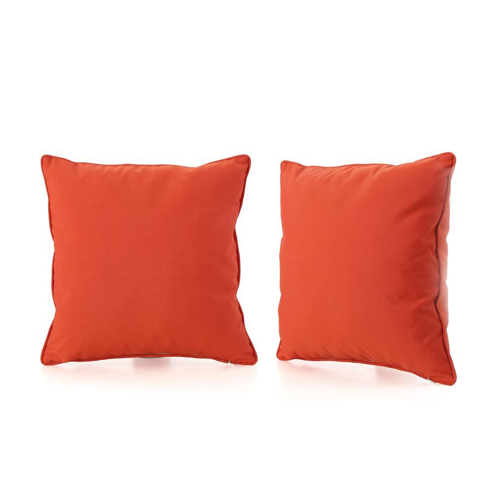Coronado Orange Square Outdoor Throw Pillow (2-Pack)