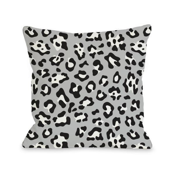Gabriella Cheetah Gray Graphic Polyester 16 in. x 16 in. Throw Pillow