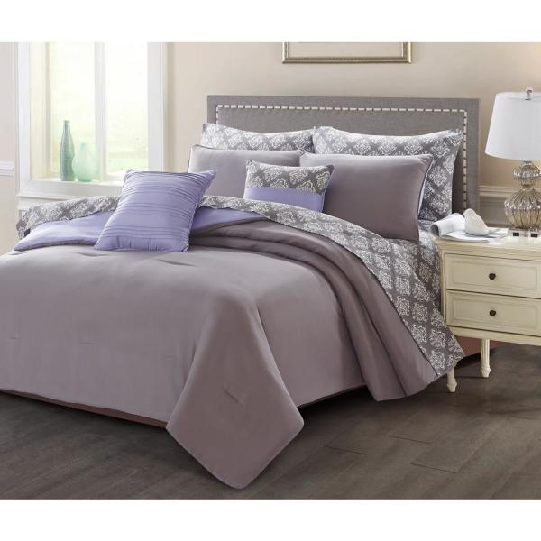 7-Piece Charcoal/Purple Twin Bed in a Bag Set 13297