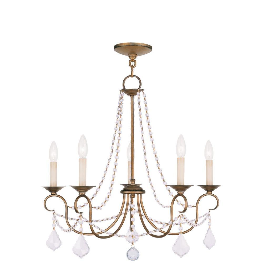 Livex Lighting Providence 5-Light Antique Gold Leaf Incandescent Ceiling Chandelier