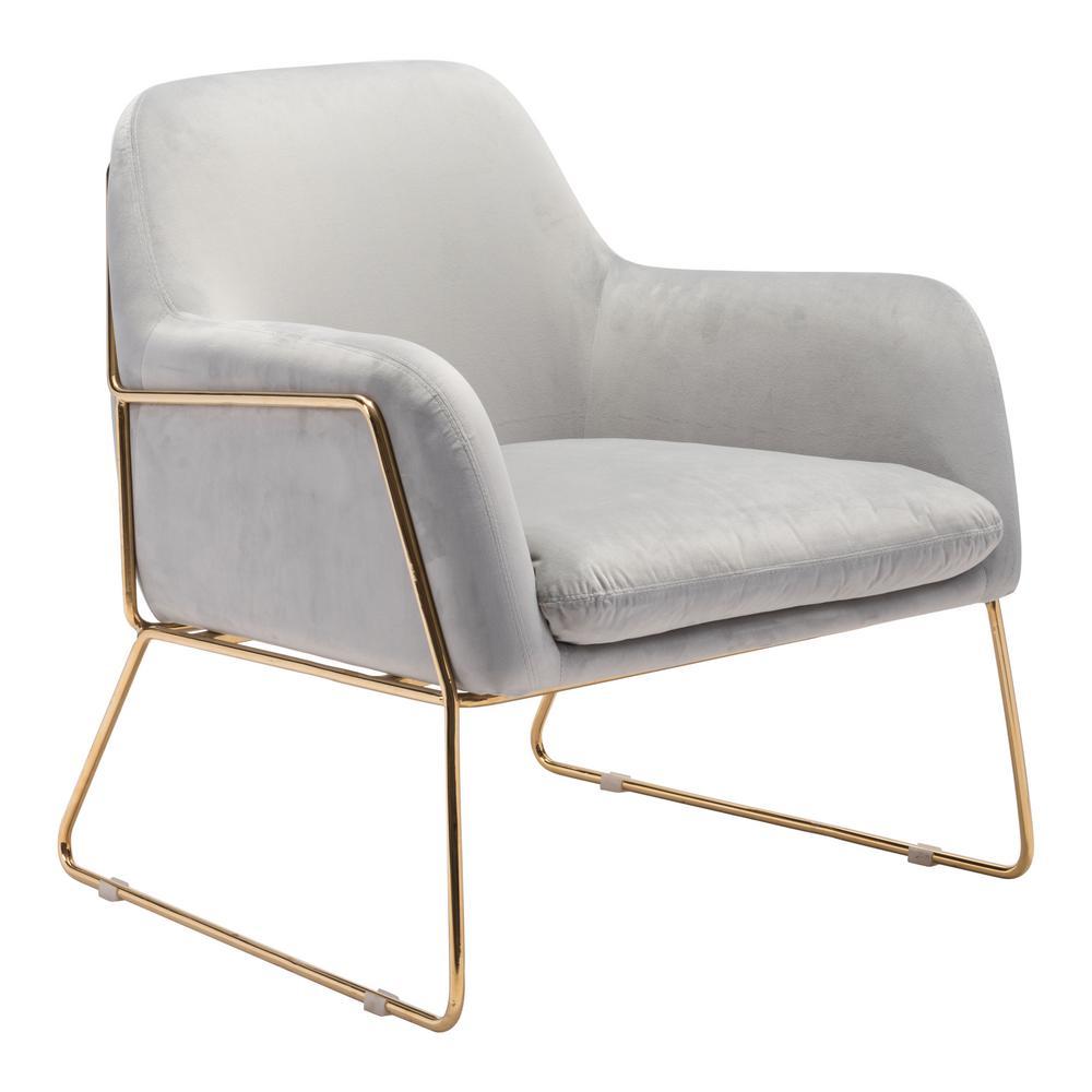 Nadir Gray Velvet Arm Chair