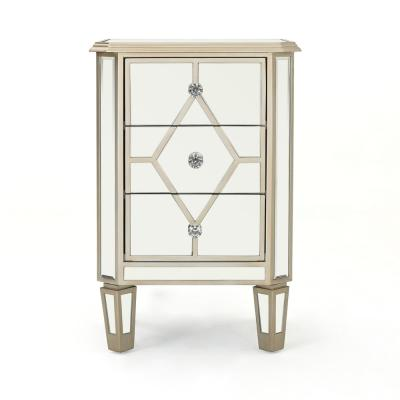 Soren 3-Drawer Mirrored Chest with Silver Faux Wood Frame