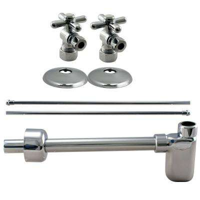1/2 in. Nominal Compression Cross Handle Angle Stop Complete Pedestal Sink Installation Kit in Polished Chrome