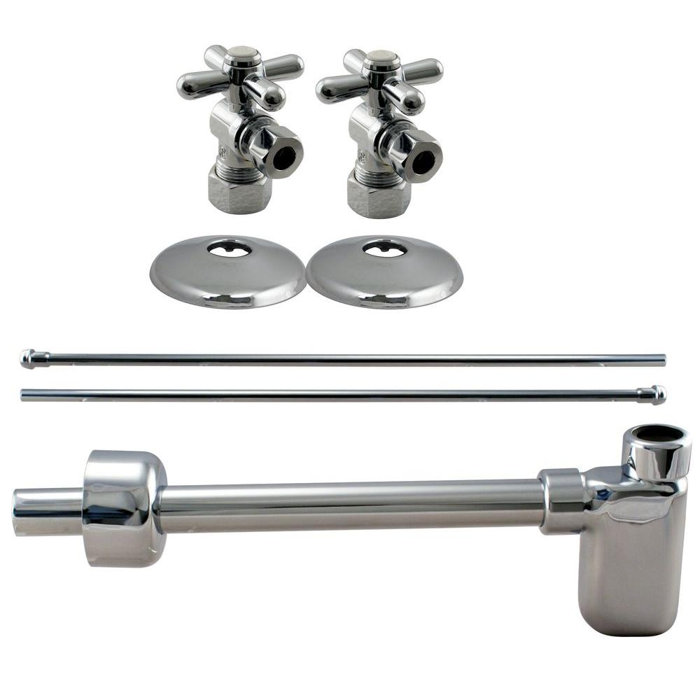 Westbrass 1/2 in. Nominal Compression Cross Handle Angle Stop Complete Pedestal Sink Installation Kit in Polished Chrome