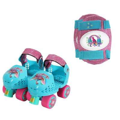 Trolls Junior Size 6-12 Roller Skates with Knee Pads