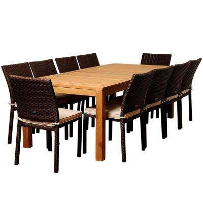 Zonder 11-Piece Teak Rectangular Patio Dining Set with Off-White Cushions